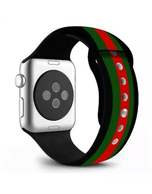 New Black/Red/Green Silicone Gucci Pattern  Band For Apple Watch 38mm