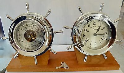 """Boston 41/2"""" Ship's Bell Clock & Barometer New Old Stock Chrome Plated"""
