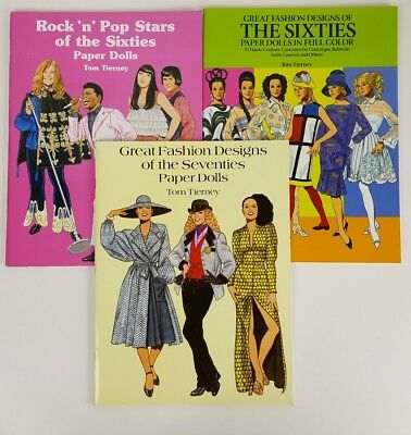 LOT  of 3 VINTAGE PAPER DOLL Books Tom Tierney 60s and 70s Fashion Pop Stars