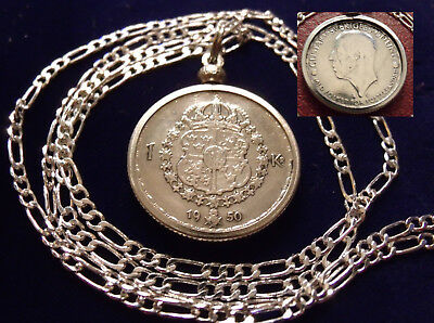 "1950 SWEDEN SILVER COAT OF ARMS KRONA COIN on a  26"" 925 Silver Link Style Chain"