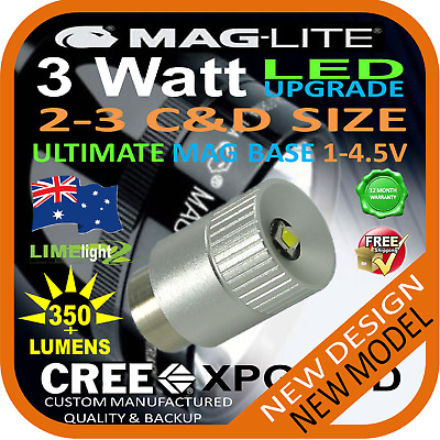 MAGLITE LED UPGRADE 2-3C/D CREE 3W BULB GLOBE for TORCH FLASHLIGHT 1-4.5V 350+lm