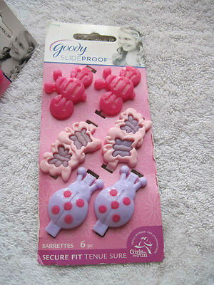 6 Goody Girls Plastic Stay Put Secure Fit Hair Barrettes Lady Bug Bee Butterfly