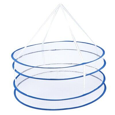 Drying Rack Folding Hanging Clothes Laundry Basket Dryer Net 2 layers Z2E5