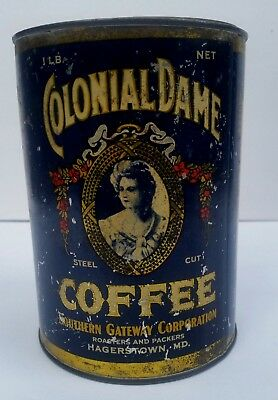 1900's Original COLONIAL DAME COFFEE 1 LB Tin Metal Can Hagerstown Maryland MD