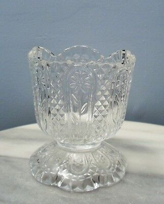 """Vintage Avon Glass Candy dish or Candle Holder 3 7/8"""" x 3 1/2"""" Flower diamond"""