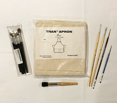 New Tran Natural Duck Canvas Artist Apron & Bonus Used Artist Brushes