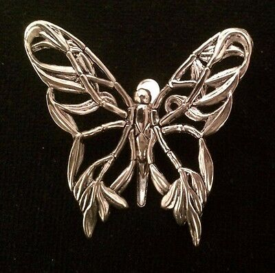 """SCARF CLIP  John Hardy Silver Butterfly Scarf or Hair Clip Vintage 1980s 2"""" x 3"""""""