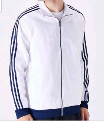 New Adidas Men's Essentials 3 Stripes Woven Track Jacket~  Medium  #cw2365 White