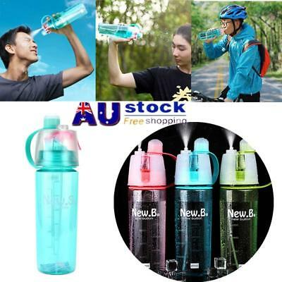 600ml Cycling Water Drink Bottle Mist Spray Portable Outdoor Sports Gym Cup AU!