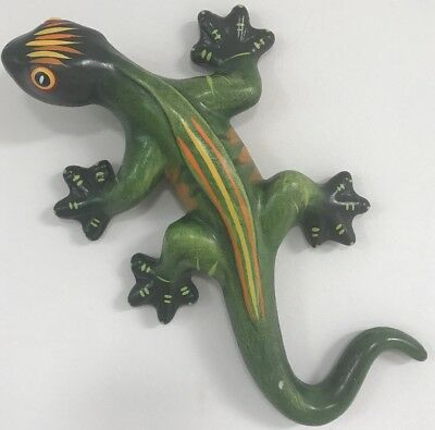 Authentic Mexican Folk Art ~ Hand Painted Terra Cotta Climbing Gecko 11""