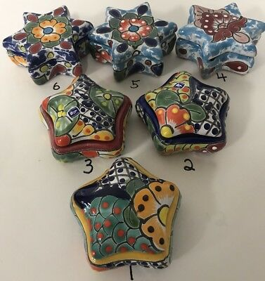 MEXICAN FOLK ART ~ TALAVERA Pottery STAR Trinket Box~ HAND PAINTED (Choose ONE)