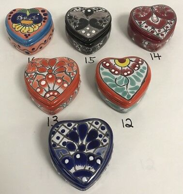 MEXICAN FOLK ART ~ TALAVERA Pottery HEART Trinket Box~ HAND PAINTED (Choose ONE)