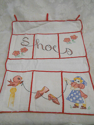 Vintage Handmade Embroidered Shoe Organizer-Holds 6 Pair of Shoes