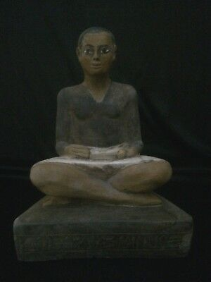 RARE ANCIENT EGYPTIAN STATUE Egypt Antiquities Seated Squatting Scribe Stone -BC