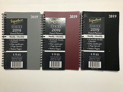 2019 Signature Dated Day Planner Calendar Appointment- Weekly Monthly 5X8