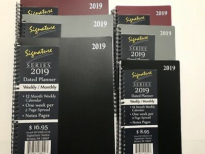 2019 Signature Dated Day Planner Calendar Appointment- Weekly Monthly 8X10 & 5x8