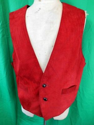 Vintage Pharrell Red Suede & Black Australian made Waistcoat Vest with buckle M