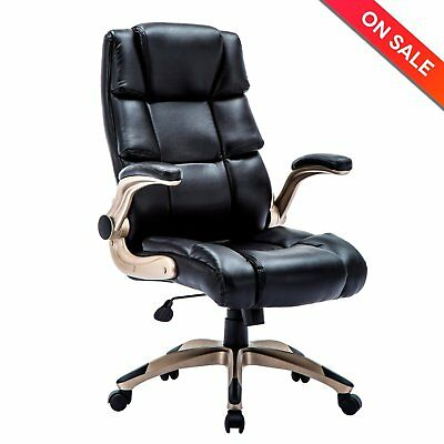 Ergonomic High Back Leather Office Chair - Adjustable Padded Flip-up Arms