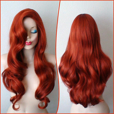 "28"" Copper Red Jessica Rabbit Wavy Long With Big Swap Bangs Cosplay Hair Wig"