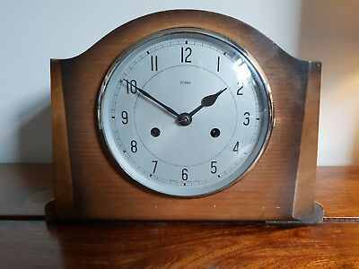 Antique 1940's Enfield Mantel Clock with Pendulum & Key (Vintage Smiths Chiming)