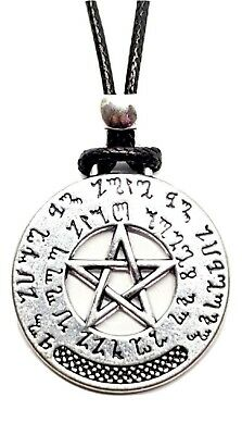 Theban Witch Pendant Pentacle Prosperity Sacred Old Script Beaded Cord Necklace