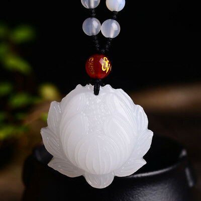 100% lucky natural Chinese jade lotus pendant include necklace