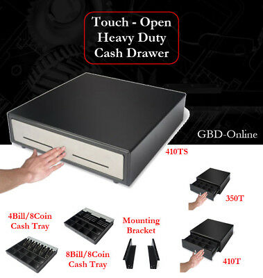 POS Heavy Duty Manual Touch-Open Cash Drawer / Cash Tray / Mounting Bracket
