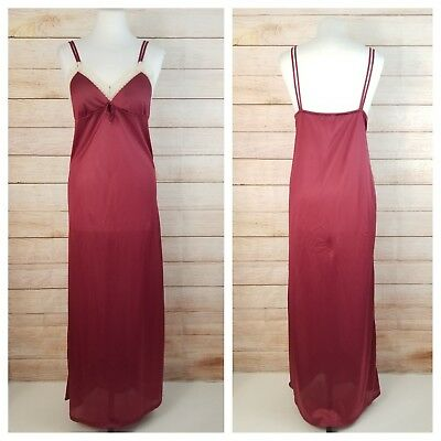 Vintage Negligee M Burgundy Ivory Lace Trim Maxi Night Gown Nightie Keyhole Bust