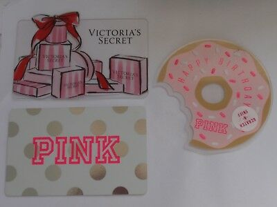 LOT of 3 PINK Victoria's Secret Gift Cards Doughnut Die Cut  No Value ~FREE SHIP