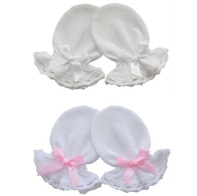 2 Pairs Cotton Jersey Newborn Baby Anti Scratch Mittens Lace, White / Pink Bow
