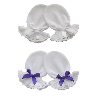 2 Pairs Cotton Jersey Newborn Baby Anti Scratch Mittens Lace, White / Purple Bow