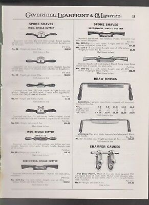 1932 catalog page antique Japanned cast iron SPOKE SHAVES Draw Knives vintage