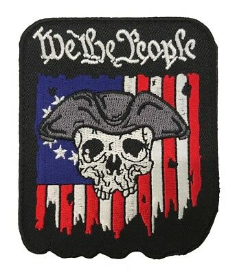 Distressed USA Flag, 2A, We The People Tactical Morale HOOK Patch (3 Inch)