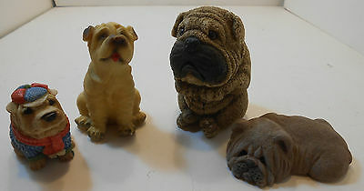 Sharpai Dog Figurines.LOT OF 4 FROM ESTATE SALE RESIN CHINESE FOO PUPS