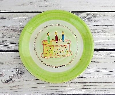 """Ruby Happy Birthday Cake Plate Platter Round Approx 10.5"""""""