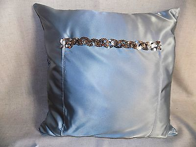 "U.S. Seller 18"" Throw Pillow with Pocket  Artisan Handmade Seaquins Exclusive"