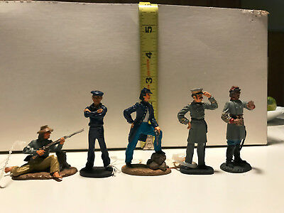 Civil War Figurines (5) Franklin Mint, Fine Pewter and Hand Painted [set 1]