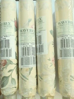 Waverly Pattern Cut Border Yellow With Roses Pattern 5 Yards Lot of 4