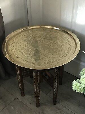 Stunning Antique Brass Top Foldaway Table Egyptian. Carved Wooden Inlaid Legs.