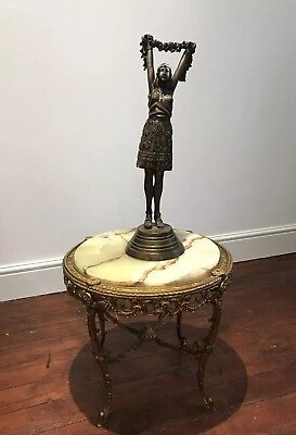 French Guilt Bronzed Cast Iron Salon Table With Marble Top