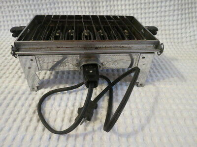 Antique Vtg Toaster Sunbeam Flat C Reversible Chrome Deco Engraved Works Cord