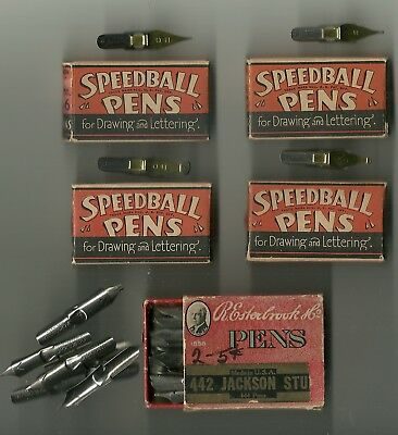 Vintage Calligraphy Pen Tips Speedball / Hunt in Boxes: B-0, B-2, B-5, B-6 & 442