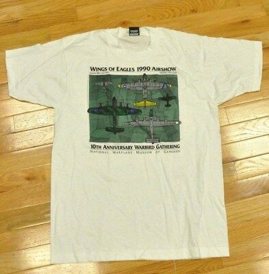 WINGS OF EAGLES 1990 Airshow Tshirt Lg 10th Ann. Warbird Gathering