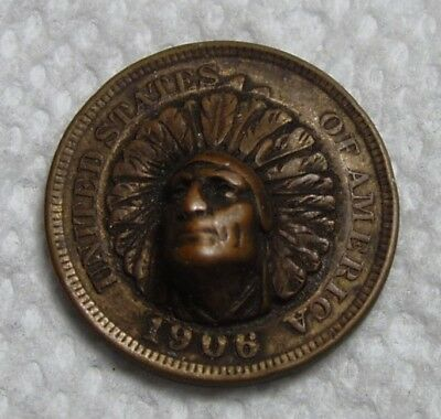 1906 Indian Head 1c Repousse, Push Out. Neat.