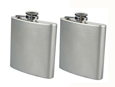 New 2PC Stainless Steel FLASK Screw Cap Hip Pocket Alcohol Liquor Whiskey Party