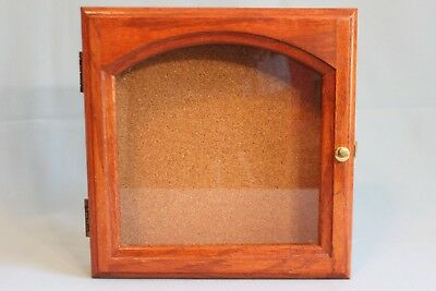 """Wood And Glass Display Case Vintage Solid Wood Hand Made 10.25"""" x 10"""" x 2.5"""""""