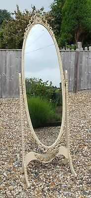 French Style Ornate Cheval Mirror Louis XV Cream