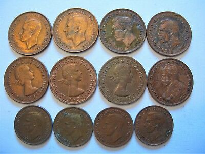 Mixed Lot of Old Bronze Coins From Australia. Half & Penny