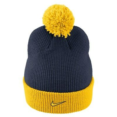 8b805494e65 NIKE Michigan Wolverines Cuffed Knit Hat Beanie Cap with Pom - Adult