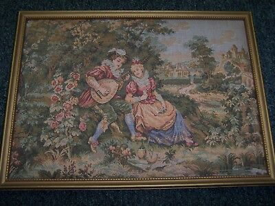 Two Antique French Needlepoint Tapestry Framed Pictures
